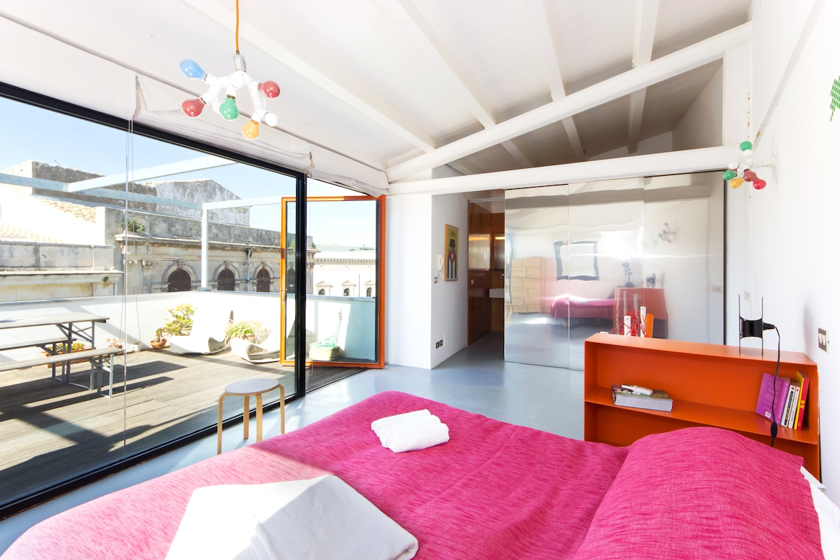 Bedroom with view the private terrace