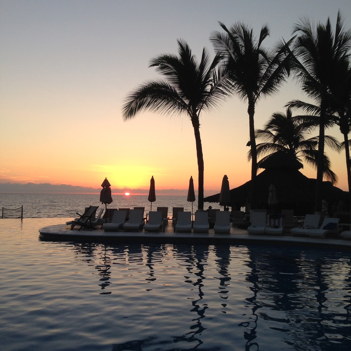 Typical sunset out by the pool.