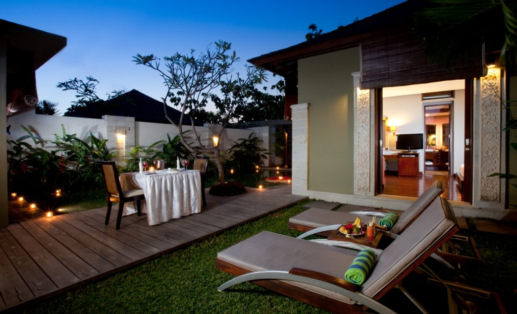 In villa dining available.