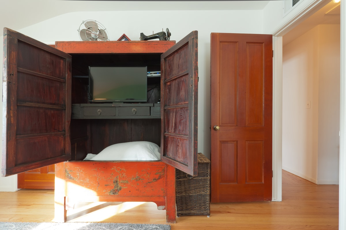 Guest bedroom features your own tv with ATT uverse.