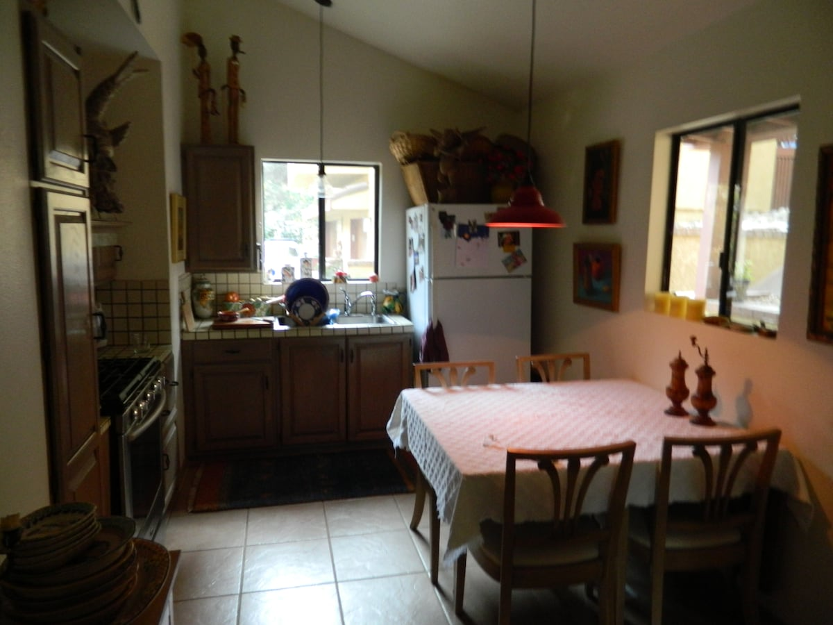 Eat-in kitchen, gourmet cookware. condiment pantry, Italian and Talavera pottery