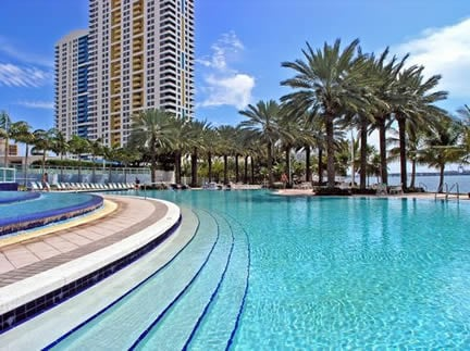 Enjoy two perfectly serene pools overlooking the Biscayne Bay.