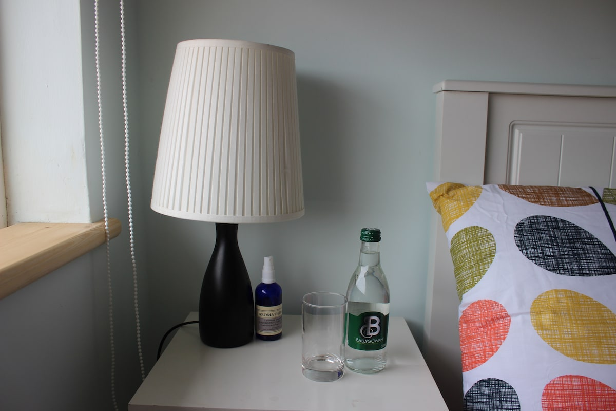 Bottled water and bed-side lamp (alarm also available - of you want it!!)