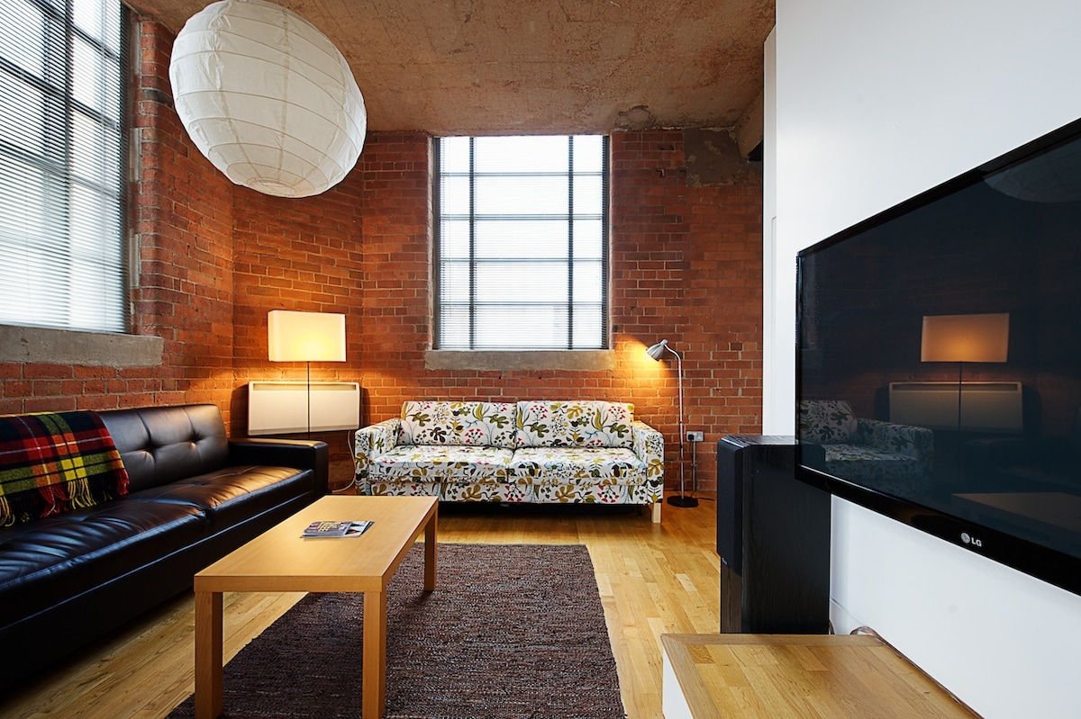 Main Room has 48' plasma tv and two double bed sofas