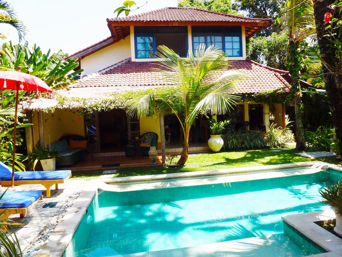 Our private garden with pool.