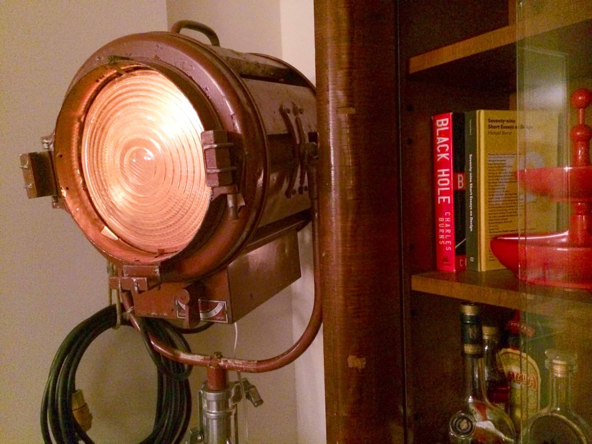 Living room lamp and bookshelf