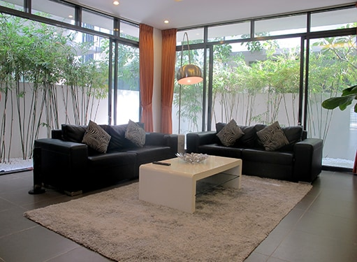 Living room's large picture windows