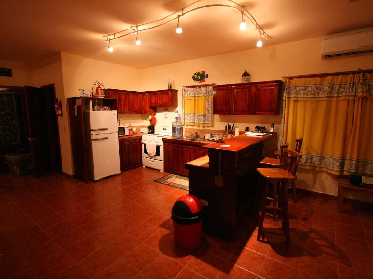 The kitchen breakfast bar area.