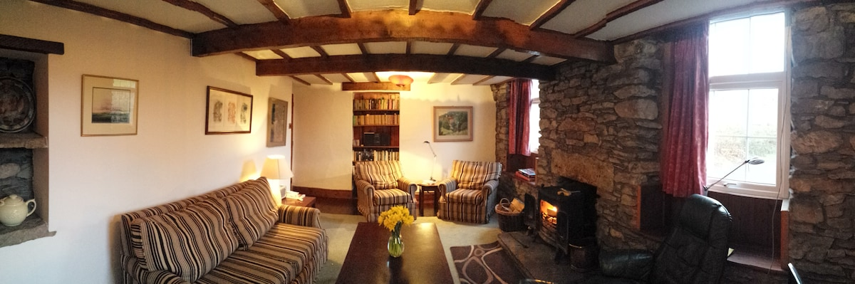 The Old School sitting room, with multi-fuel stove.