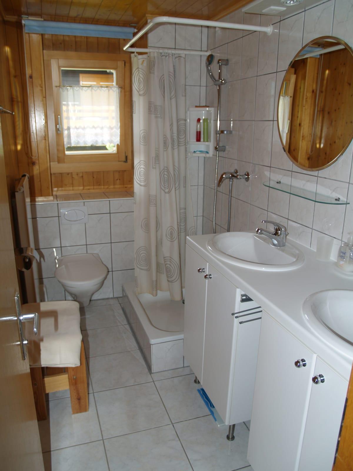 Bathroom on lower floor with shower