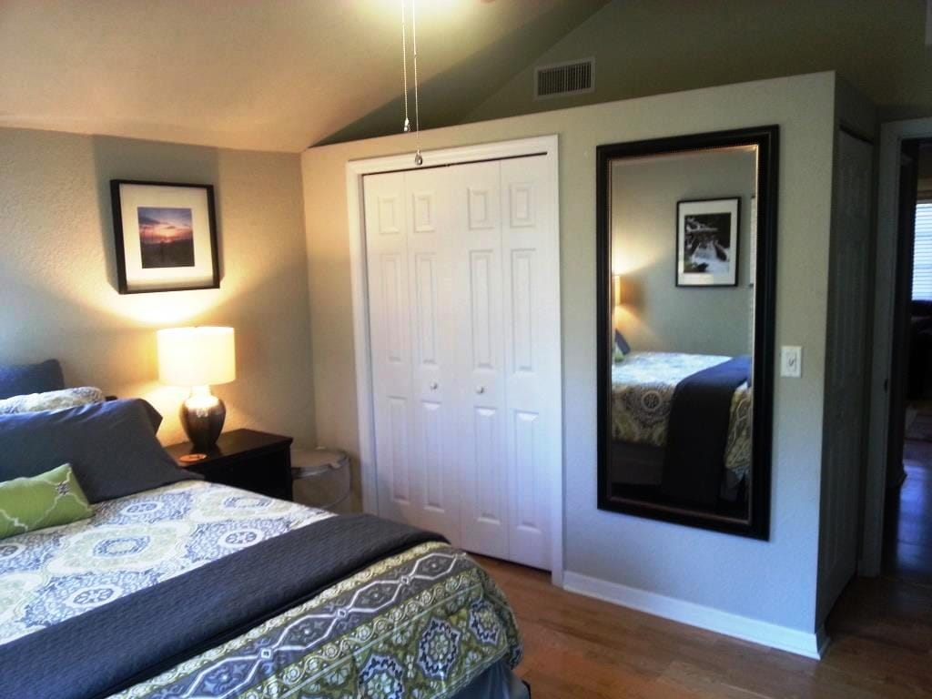 Bedroom - New queen sized bed and large closet