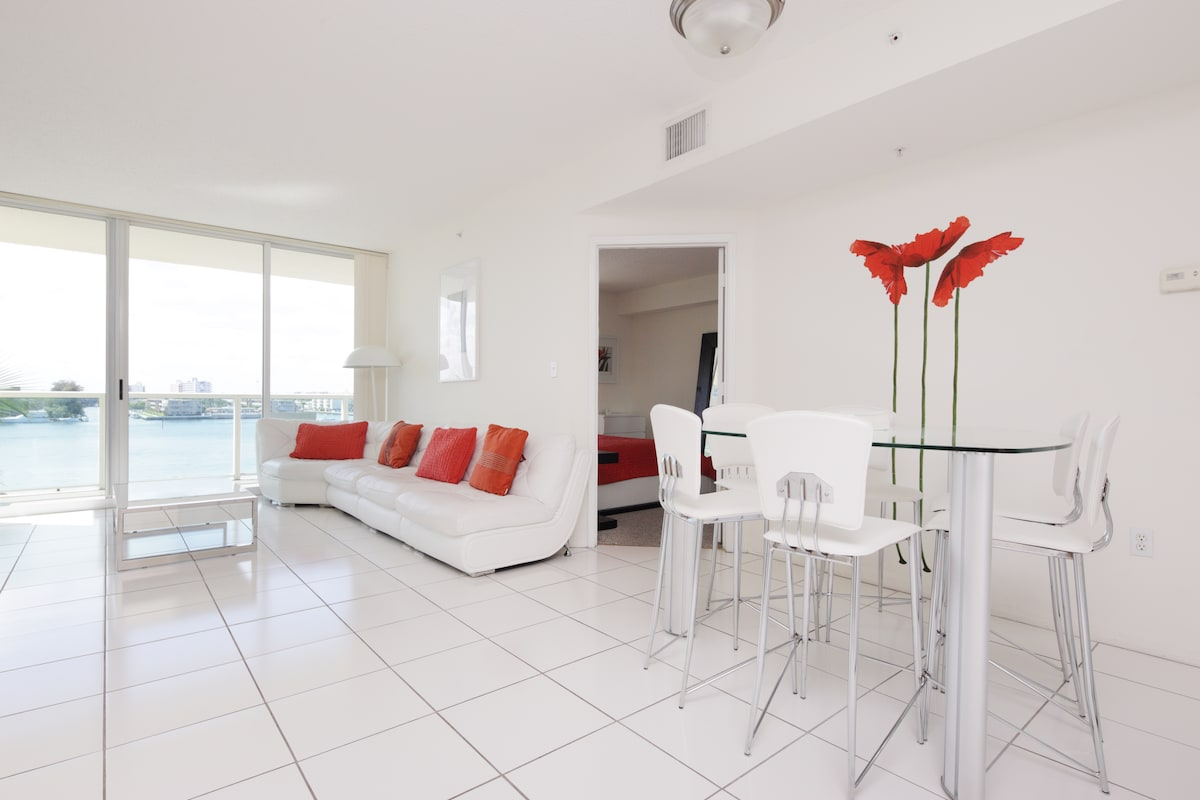 White living room with the Bay view