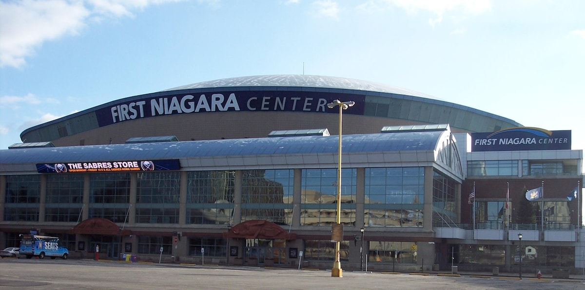 Access First Niagara Center by a healthy 2 mile walk, mass transit or a 5 minute drive. That parking lot is currently being turned into an office building, 2 ice rinks and a hotel...