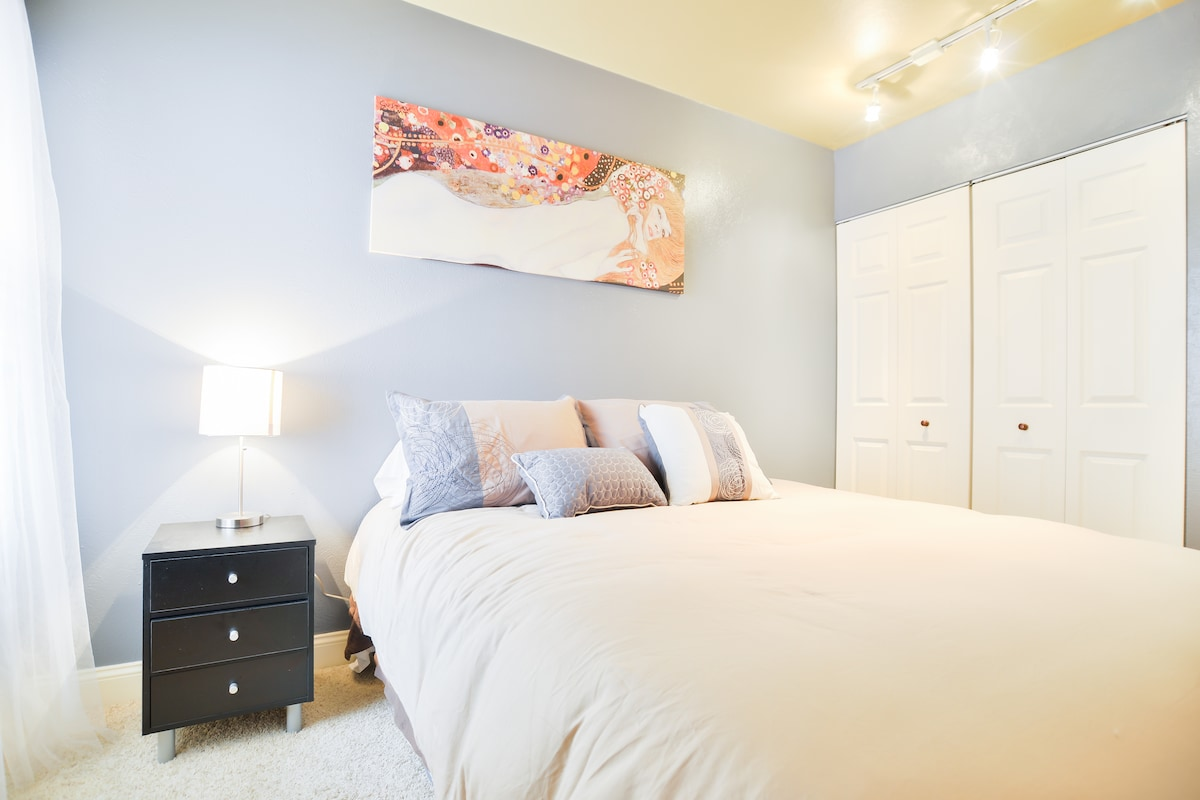 Enjoy this new pillow top queen bed for a great night sleep.