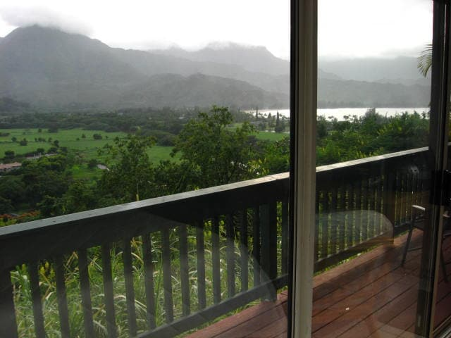 View of the lanai and bay as you wake up