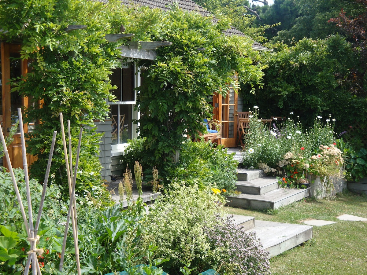 Summer at Featherstone, looking across to the decking and entrance to the B&B room.