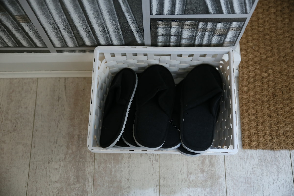 Complimentary slippers to keep your feet warm.