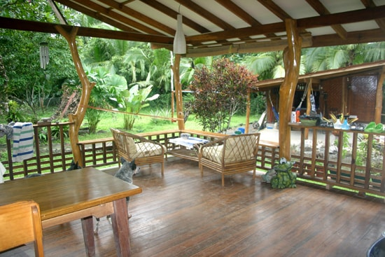 Big veranda with furnitures and hammock