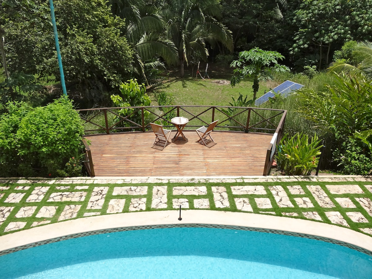 Tier levels, pool, wood deck and lower Palm Garden.