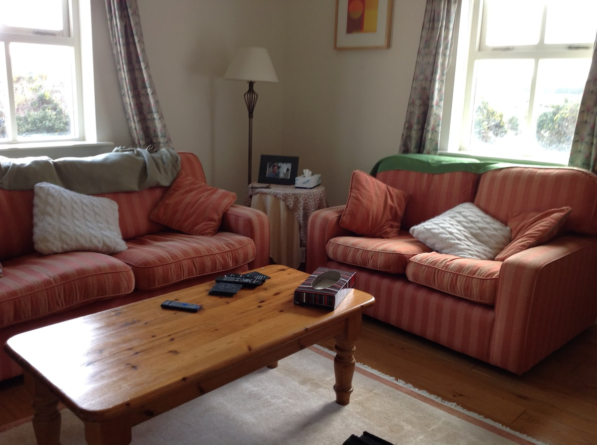 Sitting room with open fire 2 sofas and one armchair - and large TV DVD