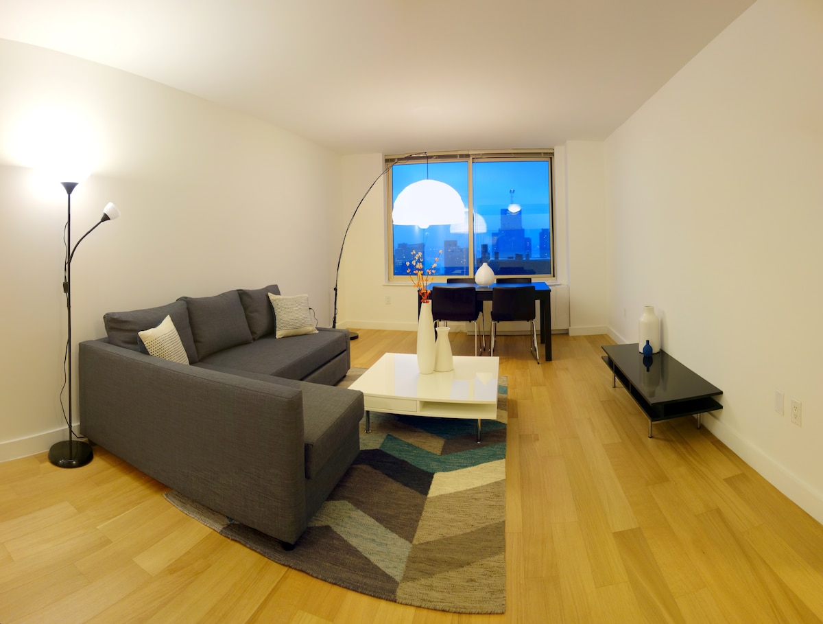 Wide-angled shot - Living room in the evening