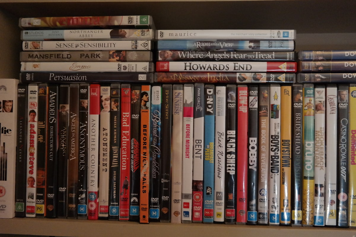 More than 270 DVDs to choose from. Mostly AirtHouse films. Make up your own mini-festival of, say: All Jane Austen? All E.M. Forster? the complete Downtown Abbey? Free popcorn provided with request..