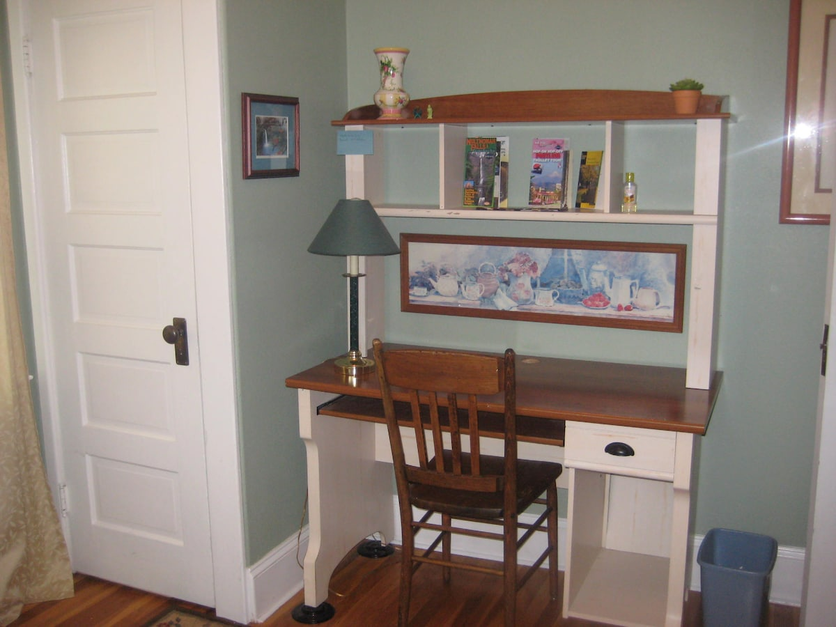 Desk and closet in twin room. Plenty of maps and a books about places to go.