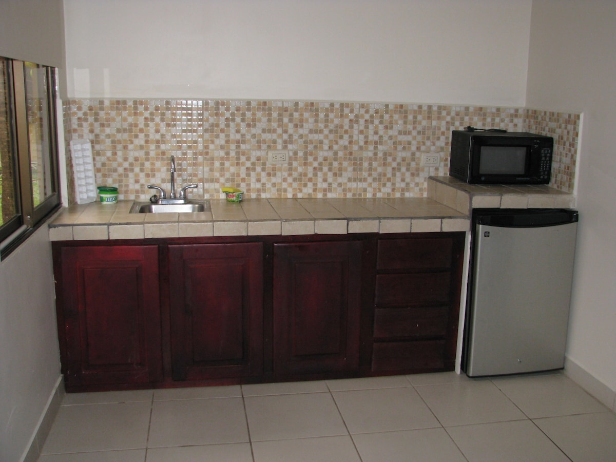 Kitchenette w/ microwave and fridge