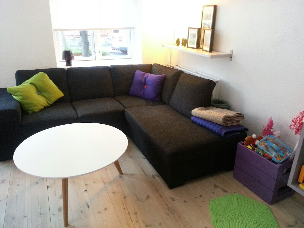 One end of the living room with sofa (not fold out). But one can sleep on it in either direction.