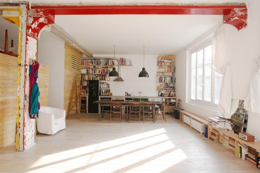 loft main space : kitchen/dining view