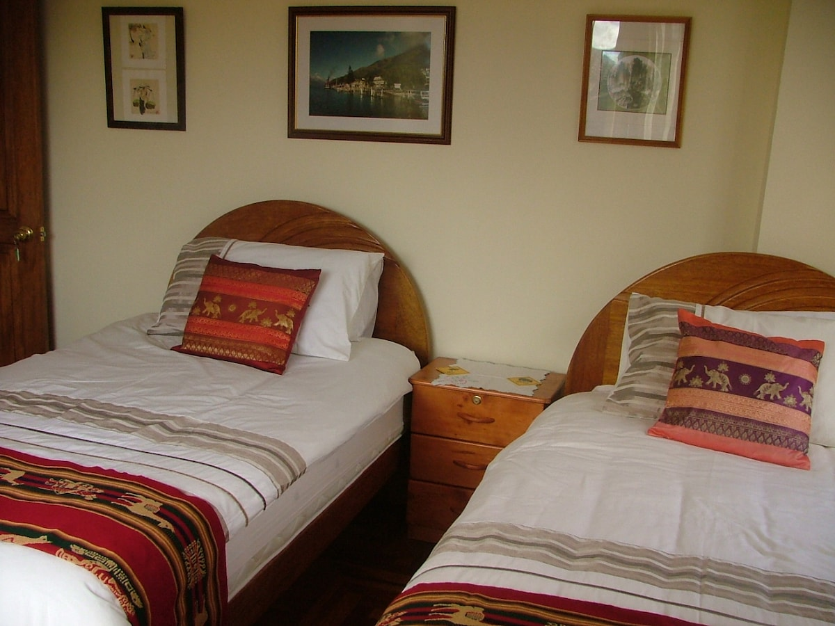 Twin room with mountain view, with separate bathroom