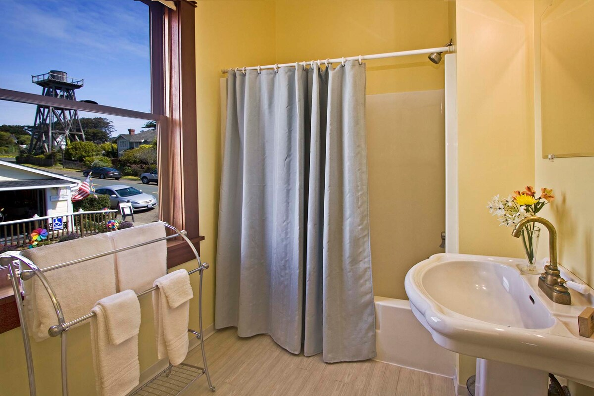 The shared bath. Room #1 & 2 share this one bathroom.