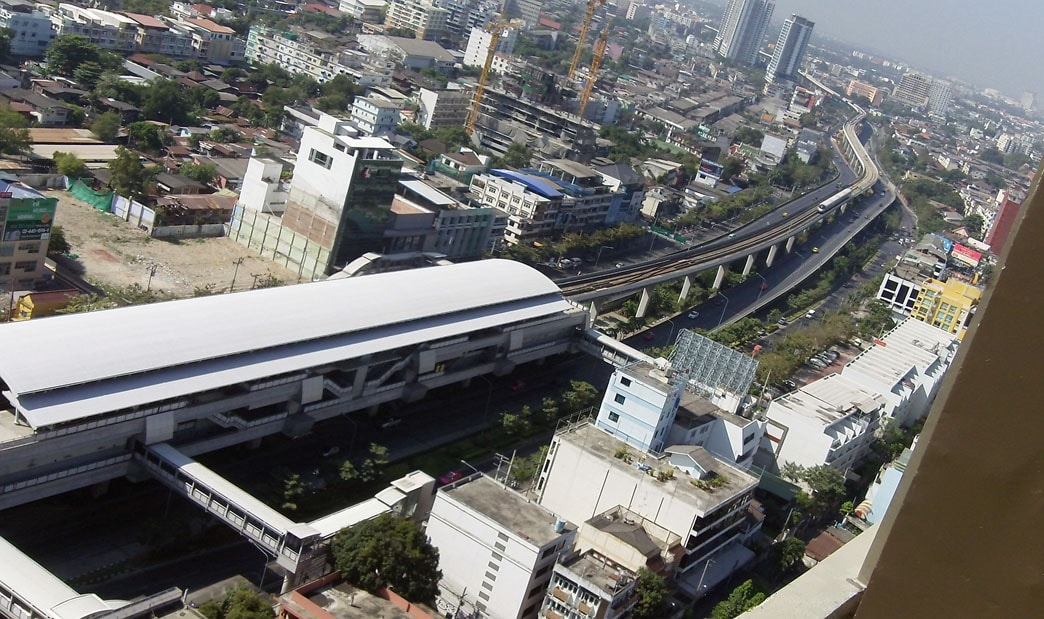 BTS-skytrain- station viewing from condo's roof top. BTS station is just 120 meter from Condo