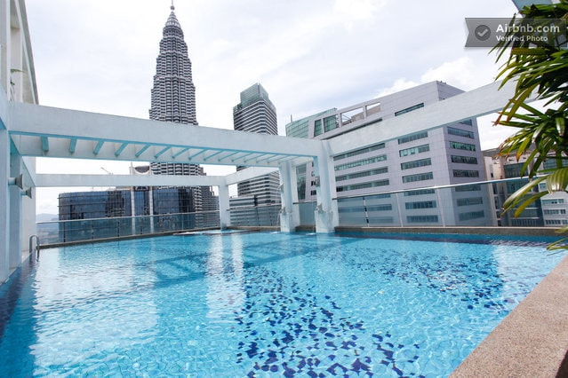 Gorgeous rooftop pool looking at the KLCC Twin Towers