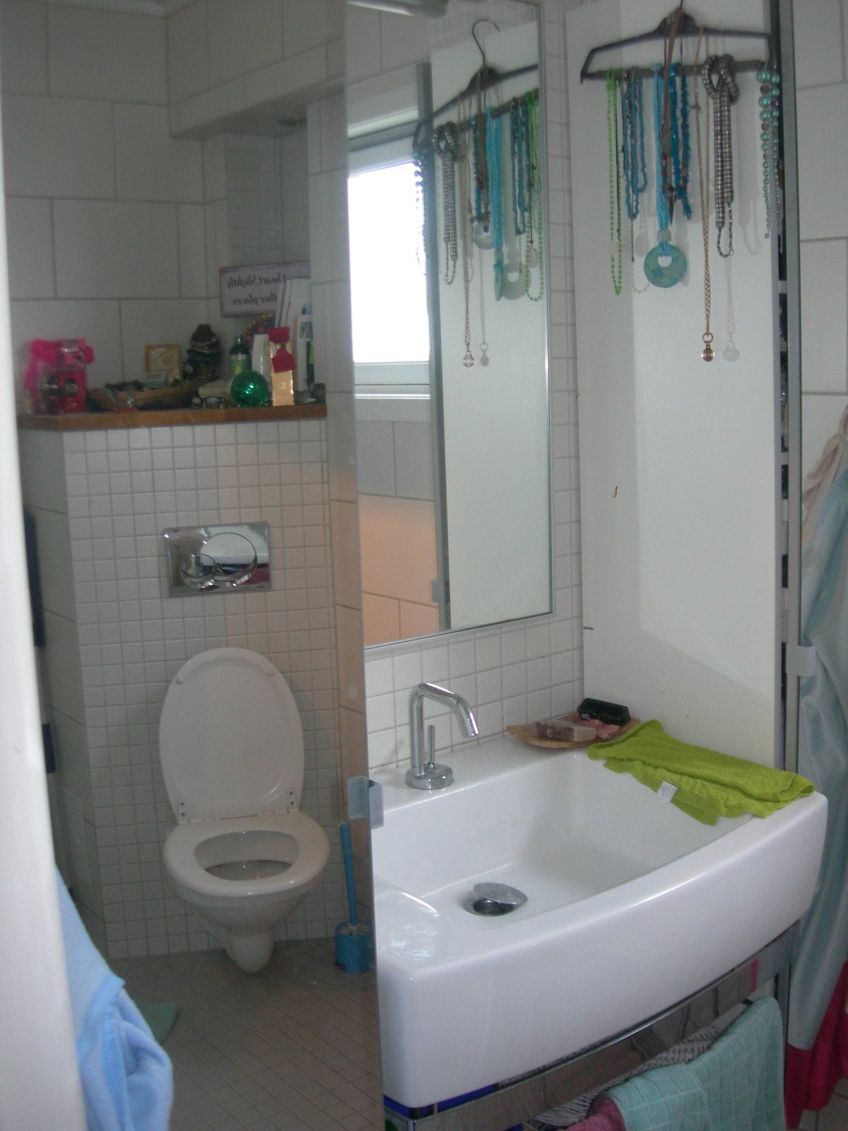 modern bathroom with shower corner unit.
