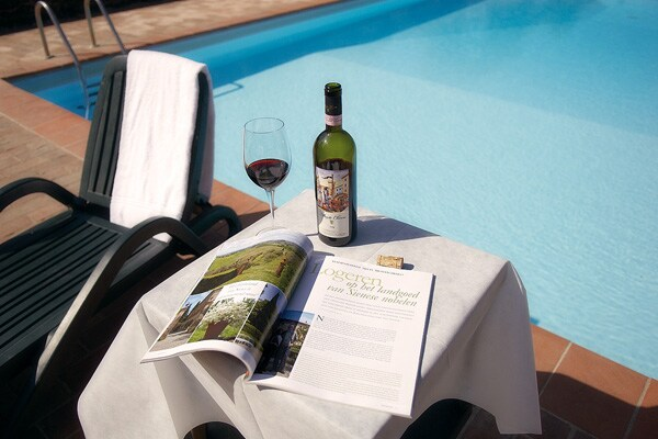 A glass of red wine, a good book by the pool: what more to ask for?