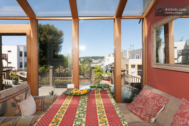 Get a glimpse of the Golden Gate Bridge from the kitchen on a sunny day