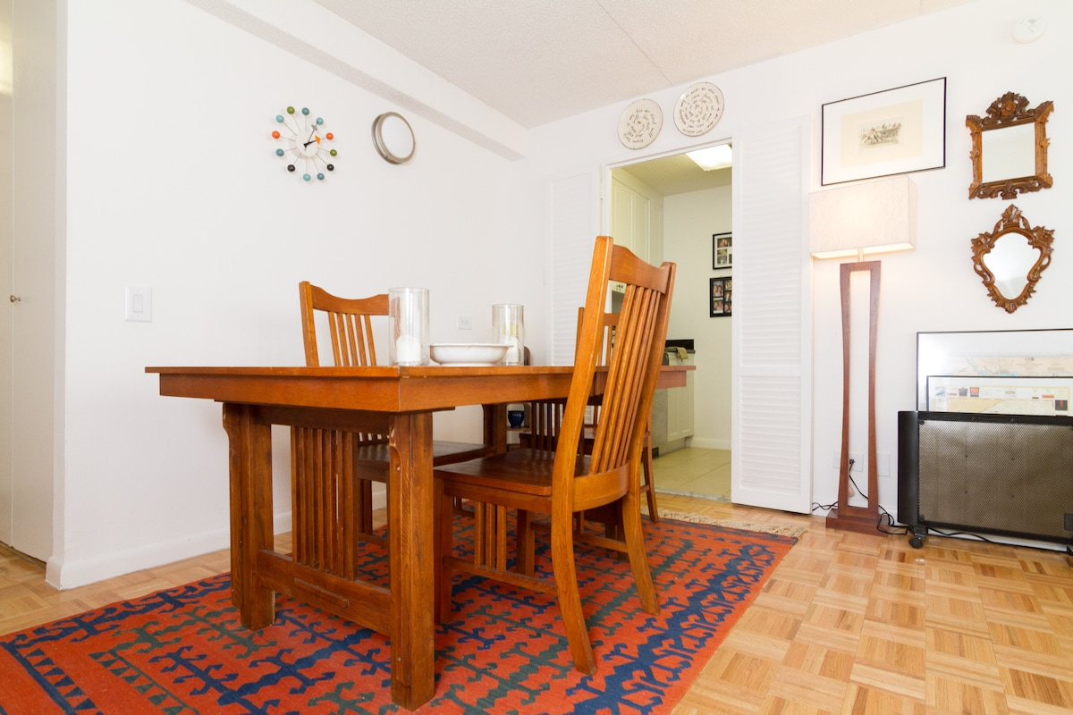 Dining area provides space for eating meals or working comfortably