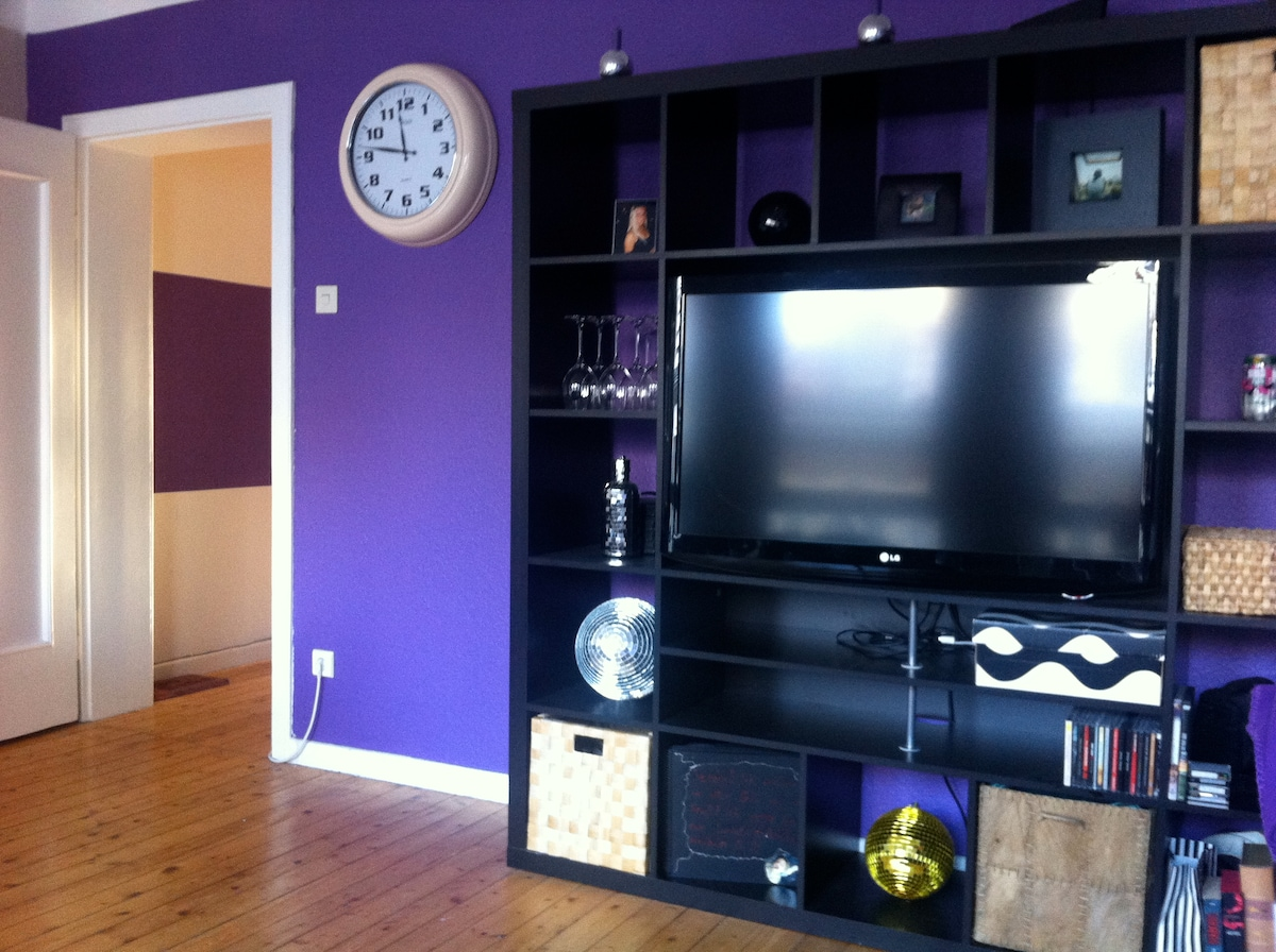 Shelf with large flat screen TV