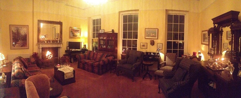 Upstairs living room with roaring fire!!