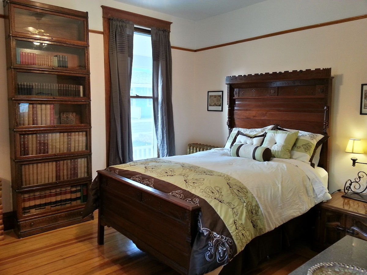 Most of the furniture and decor in the room are antiques dating to the late 19th century, and came from a Deadwood pioneer family.