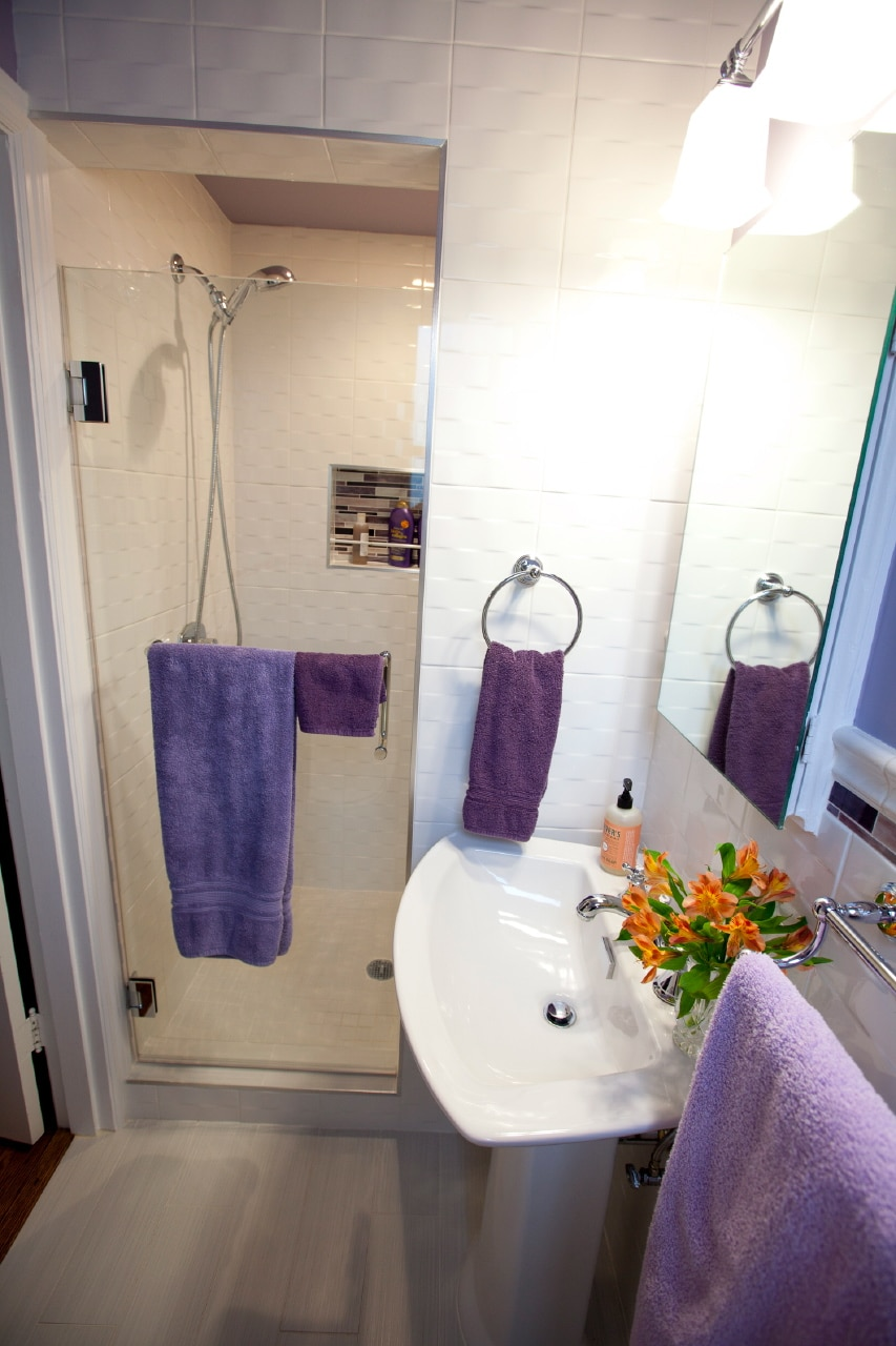 Your gleaming new bathroom, ensuite.  Look inside the mirror cabinet for extra amenities and storage space.