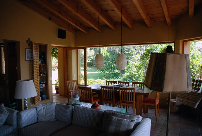 View of yard form living room and dinning room