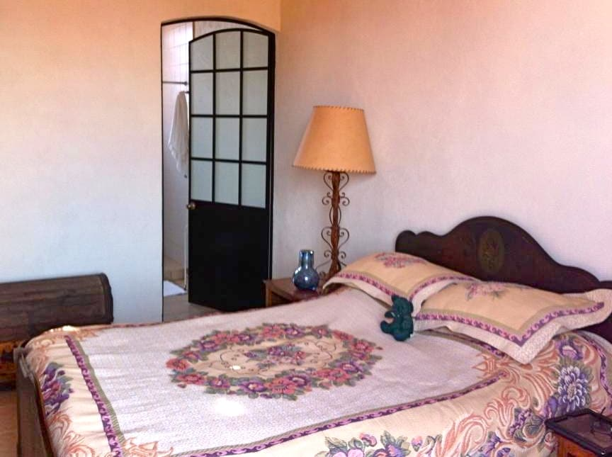 Spacious room with queen bed, closets, en suite bathroom, DVD, and a balcony!