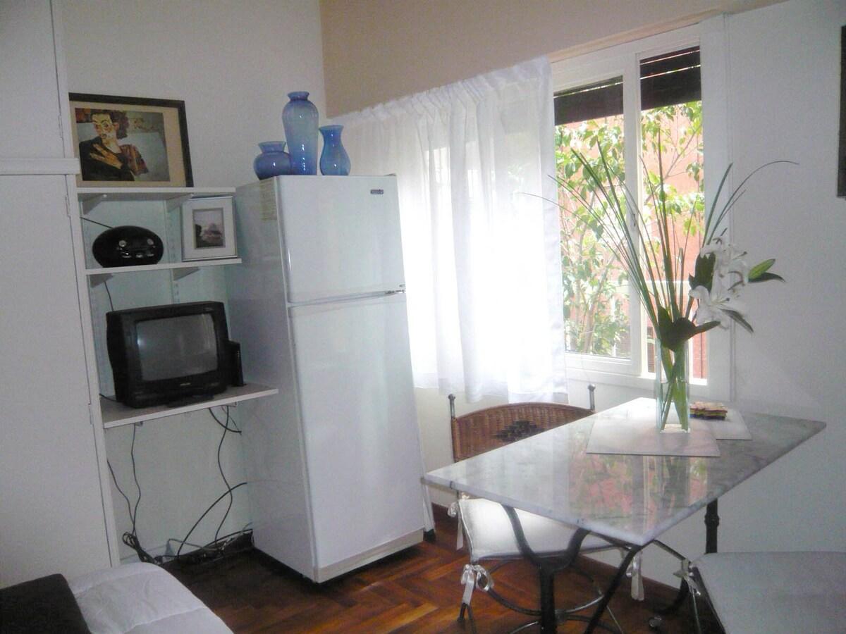 Vista heladera con freezer y tv