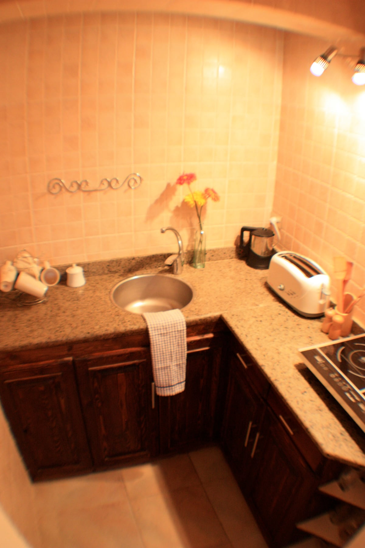 Well equipped kitchen with induction hob, fridge, cafetiere, kettle, toaster and complementary starter pack on arrival.