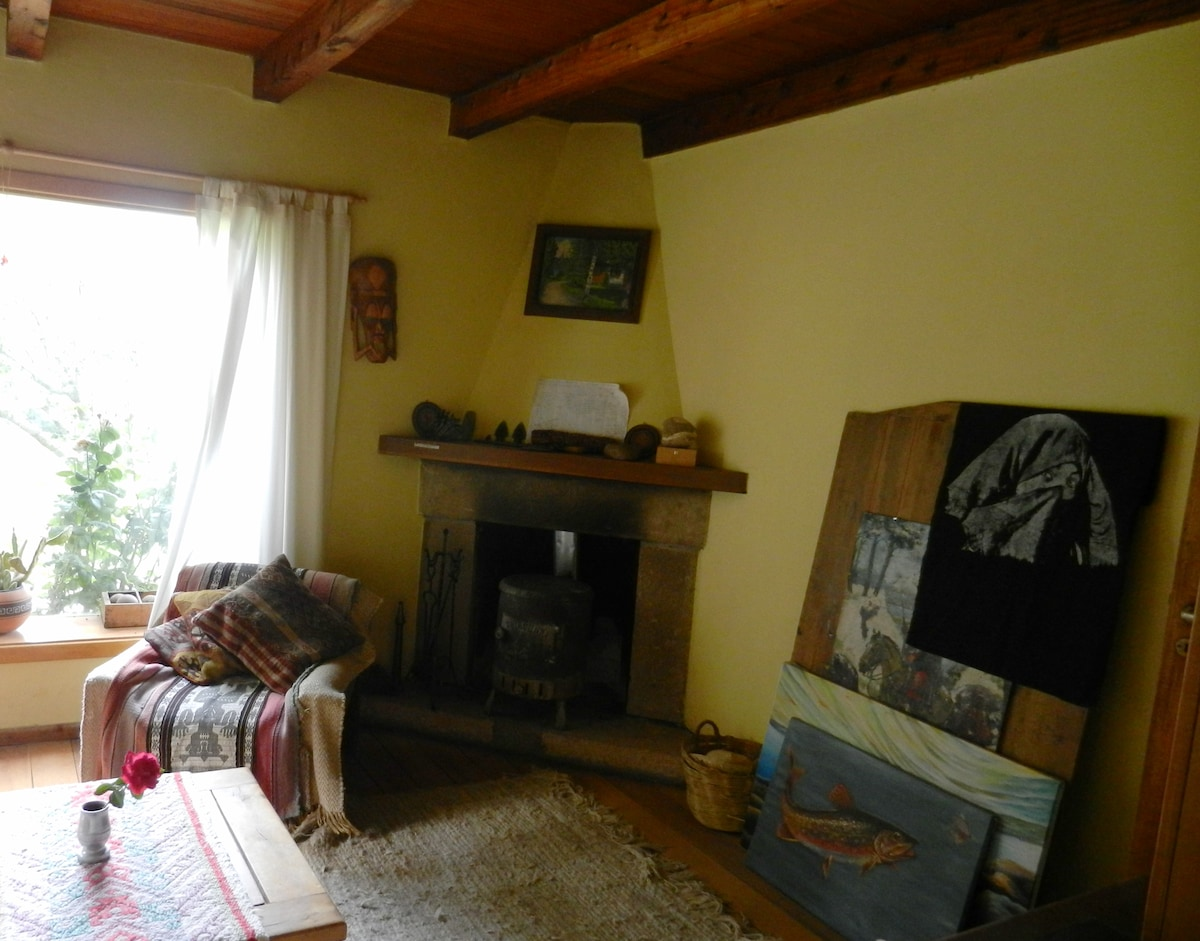 Livingroom, cozy fireplace and picture window onto garden, view of orchard and lake