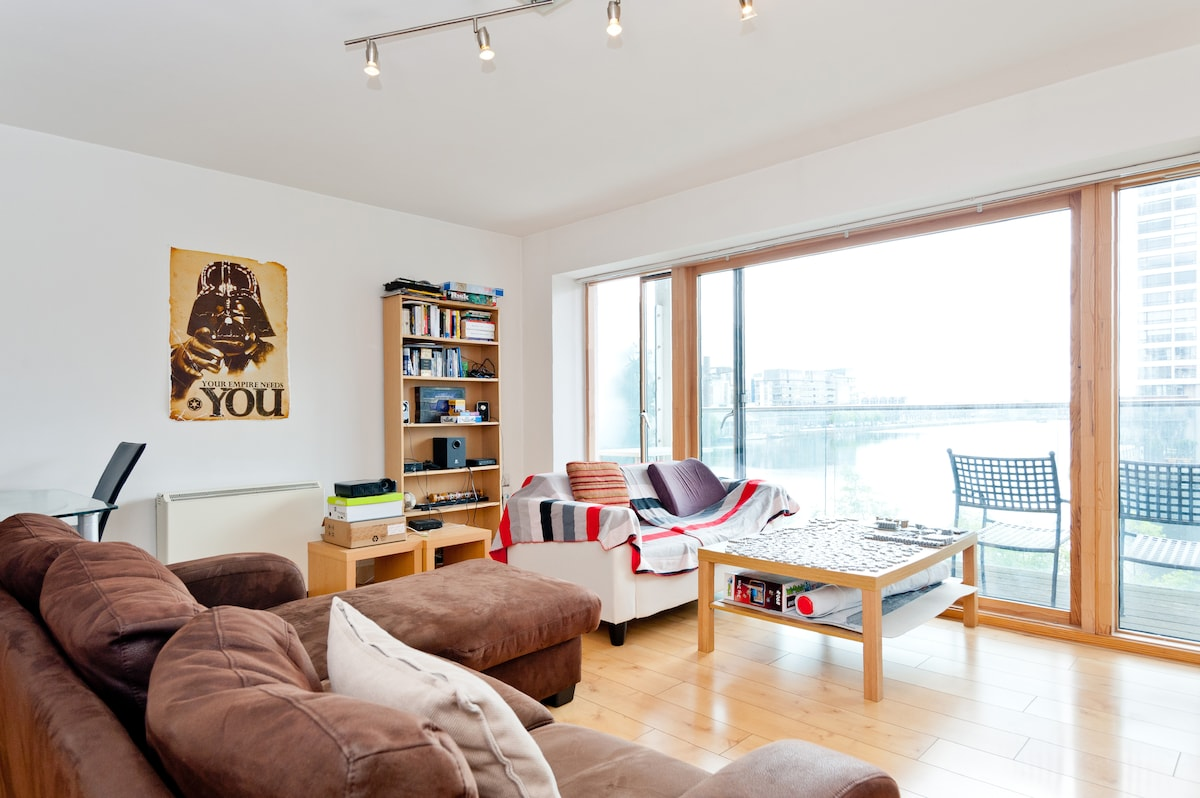 Spacious living room with full window and great canal view (One of the best views in Dublin!)
