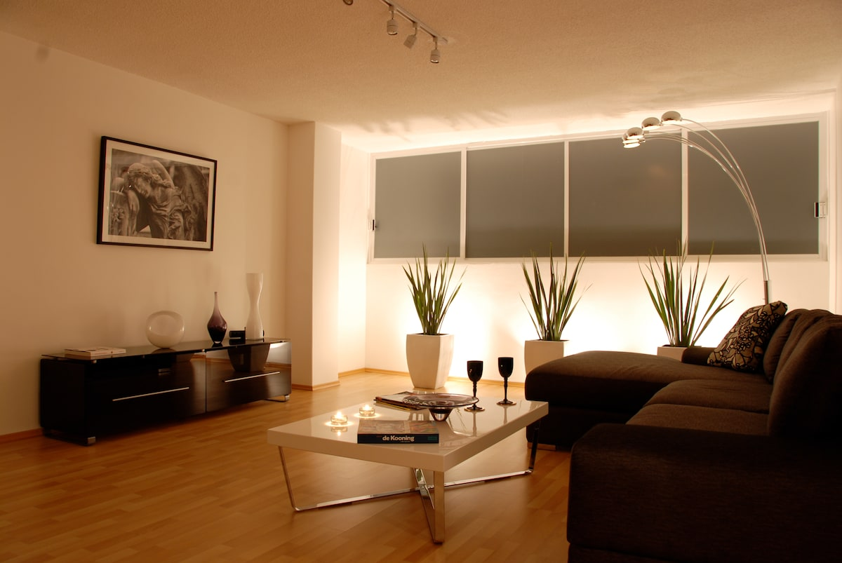 Relaxing Living Room with light dimmers so you can enjoy a romantic evening or a good book.