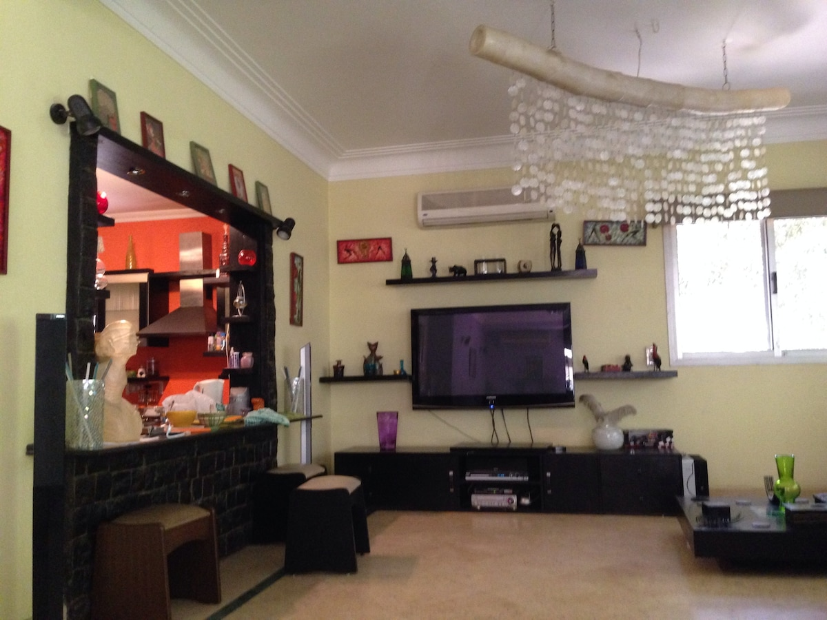 75m2 square open reception/living room / bar area with a 50inch LCD and home theater opened on the kitchen and has a balcony